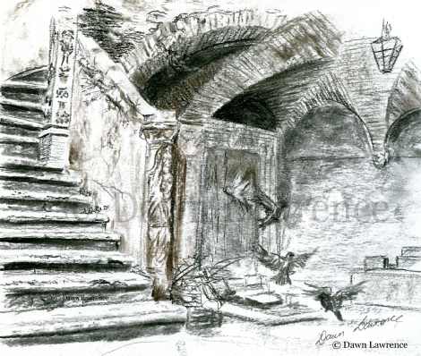 Hidden Courtyard, Umbria, Italy charcoal drawing by Dawn Lawrence