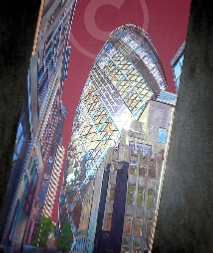 Gherkin, London. Mixed media painting/artwork by Dawn Lawrence