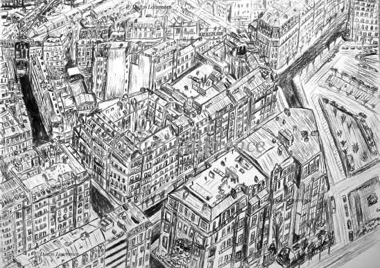Paris from Above, charcoal drawing by Dawn Lawrence