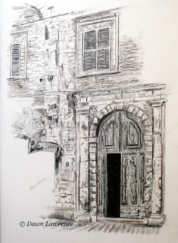 Lost in Siena, charcoal drawing by Dawn Lawrence