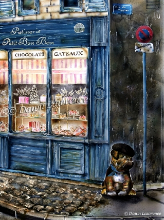 Alfreddo outside the patisserie A chien qui fume, airbrush painting by Dawn Lawrence