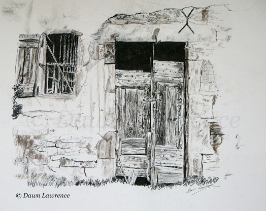 The old barn at Peyre, charcoal drawing by Dawn Lawrence