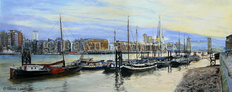 Evening Light Across the Thames , London art, oil painting, Tower Bridge, Shard, Butler's Wharf