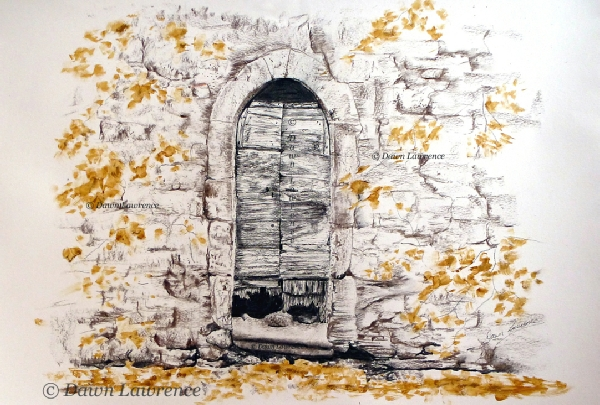 Autumn's Forgotten Door, charcoal and mixed media drawing by Dawn Lawrence